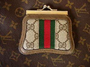 RARE Vintage GUCCI  Brown GG Monogram Kisslock Coin Wallet  Accessory Gift CUTE