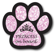 Princess on Board Paw Print Magnet 5 inch Pink Sparkly Paw Decal for Car