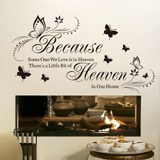 Butterfly Someone we love in Heaven Vinyl Quote Wall Stickers Home Wall Decals