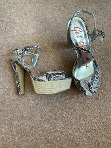 Gorgeous Next Nude Black Snakeskin Platform Sandals Size 5 Vgc