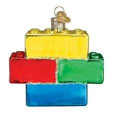 Old World Christmas Building Blocks Glass Ornament 44127 FREE BOX Toy New