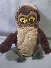 "IKEA Owl Handpuppet Plush Children Puppet Yellow Embroidered Eyes Bird 8"""