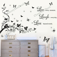 Large Butterfly Vine Flowers Wall Quote Stickers Home Decoration Art Decal 2Pack