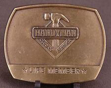 Handyman Club of America Belt Buckle-Life Member-1996-Hammer-Tools-Gold Tone-VTG