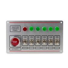12V Silver Ignition Switch Panel Engine Start Push Button LED Toggle Kit 6 Gang