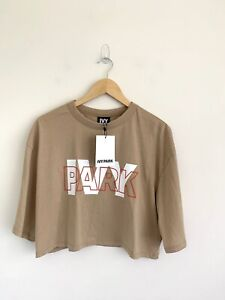 BNWT Ivy Park Beige Semi Cropped Top T-shirt Size Large
