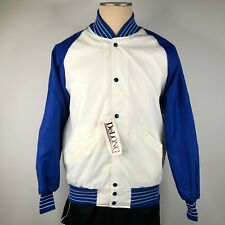 Vintage DeLong Hombres L Blanco Azul Satén Chaqueta Universitaria Chasquear