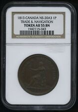 Br. 962 Trade & Navigation One Penny Token, 1815 CH NS-20A3. NGC AU55