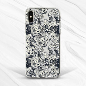 Horror Cat Occult Animal Flowers Gothic Case For iPhone 6 7 8 Xs XR 11 Pro SE