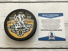 Milan Lucic Signed 2011 Stanley Cup Boston Bruins Hockey Puck Beckett BAS COA b