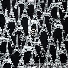 BonEful Fabric FQ Cotton Quilt Black White B&W Eiffel Tower Paris French Country