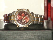 Pre-Owned Vintage Men's Cranberry & Silver Citizen Alarm Chronograph  Band Watch