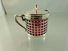ART DECO MUSTARD POT CRANBERRY GLASS STERLING 153 BY UNBRANDED