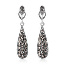 925 Sterling Silver Round Marcasite Dangle Drop Earrings Jewelry for Women Ct 1