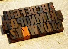 "A-Z alphabet 1.42"" letterpress wooden printing blocks wood type vintage printing"