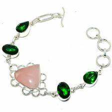 "Rose Quartz, Tsavorite 925 Sterling Silver Jewelry Bracelet 7-8"" 8838"