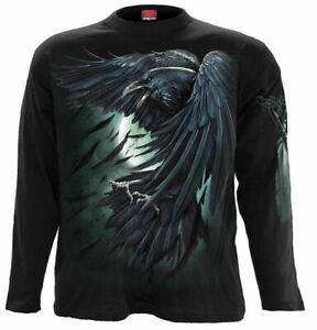 SPIRAL DIRECT SHADOW RAVEN Long Sleeve T-Shirt/Angel/Skull/Biker/Tattoo/Goth/Top