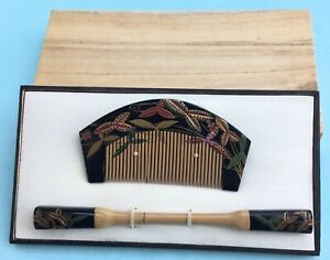 H3421 Vintage Japanese Traditional Matching Set Hair Ornaments Boxed