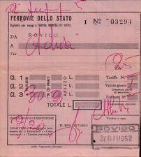 BILLET DU TRAIN CHEMINS DE FER DELLO STATO ROVIGO - ADRIA 1952 C9-116