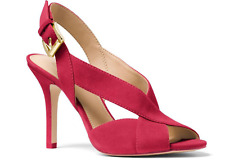 NIB Michael Kors Women's Becky Suede Slingback Sandal Cranberry Size 7.5