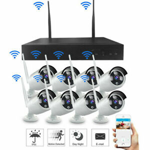 HD 2MP 4CH 8CH Wireless WiFi IP Camera NVR Outdoor Security CCTV System Kit LOT