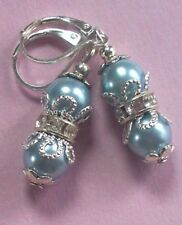 baby blue GLASS PEARL Ring Crystal earring SP LEVERBACK hook