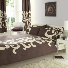 SUPERKING SIZE DUVET COVER SET ECO CREAM / CHOCOLATE BROWN EASY CARE FABRIC