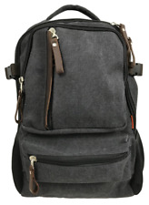 """Canvas 14"""" Laptop Backpack with Leather Trim & 2 Drink Bottle Pockets - Charcoal"""