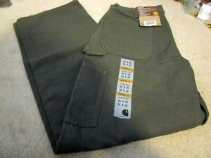 New with Tags CARHARTT WORK PANTS 34 X30 Olive Green Dungaree Jeans Original Fit