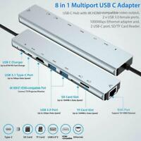 8 in 1 Multiport Type C To USB-C 4K HDMI Adapter USB For Macbook Hub 3.0 Q7S7