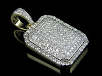Men's 14k Solid Yellow Gold Dome Pillow Medallion Diamond Pendant 3 Ct 1.3 Inch