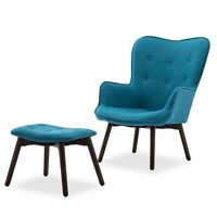 Blue Mid Century Linen Tufted Accent Lounge Chair with Ottoman Solid Wood Leg