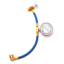 Pro R-134 R134A AC Refrigerant Recharge Hose Can Tap + Gauge with Brass Fitting