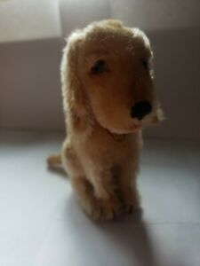 """Vintage 1920's Steiff 5 1/2"""" Treff Dog with Mint Chest Tag FF Button & Red Tag"""