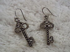 Silvertone Rhinestone Skeleton Key Pierced Earrings (D9)