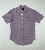 Polo Ralph Lauren Linen Button Down Shirt Medium Purple Check Short Sleeve