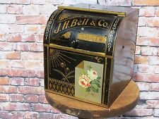 Antique J.H. Bell & Co Ginger Tin Advertising General Store Bin - Extremely Rare