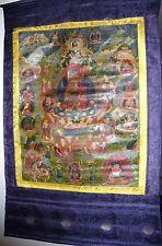 ANTIQUE VINTG TIBETAN BUDDHA FIGURE PAINTED TANGKA TANKA PRAYER SCROLL RARE FIND