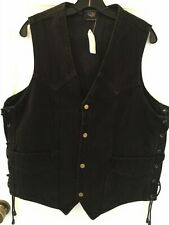 Allstate Leather Men's Black Denim Side Laced Vest 5XL