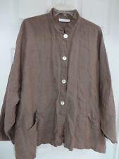 BRYN WALKER Linen  Button down Mandarin Oversize Pockets Brown/gray Blazer Top L