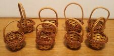 MINI BASKETS LOT OF 8 DOLL EASTER PARTY CRAFTS WOVEN WICKER HOBBY