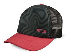 Oakley Crater Trucker Cap Black Red Mens Womens Adjustable Baseball Hat Vented