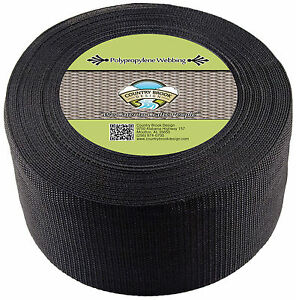 Country Brook Design® 4 Inch Black Heavy Polypro Webbing, 5 Yards