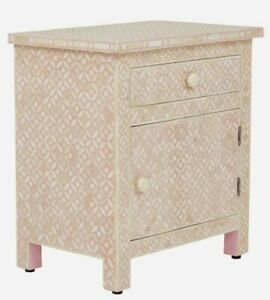 MADE TO ORDER Bone Inlay Indian Handicraft Bedside Cabinet Table Pink Geometric