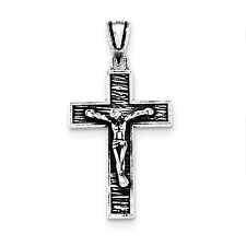.925 Sterling Silver Polished Solid Antique Finish Box Crucifix Cross Pendant