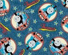 Thomas the Tank Fabric Engine Train Blue Denim Circles - Cotton Diy Craft - Bty