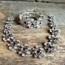 Amethyst Fashion Necklace Bracelet Womens Jewelry Set