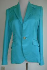 RALPH LAUREN Deep Aqua Turquoise Silk Jacket Blazer  4  Made in Italy