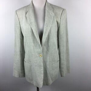 Giorgio Armani IT 46 US 10 Blazer Jacket Linen Gray Plaid 1 Button Slit Pocket