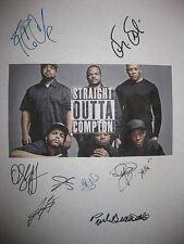 Straight Outta Compton Signed Script X8 Ice Cube Dr Dre Aldis Hodge Giamatti rpt